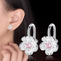 100% 925 sterling silver fashion cute Cherry blossoms flower shiny crystal ladies clip earrings jewelry female Christmas gift