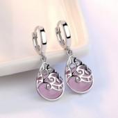 Trendy Opal Stone Flower 925 Sterling Silver Ladies Stud Earrings Original Jewelry For Women Anti Allergy Drop Shipping