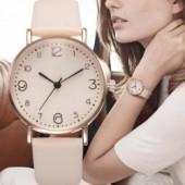 Top Fashion Style Luxury Women Leather Band Analog Quartz Wrist Watch Golden Ladies Watch Women Dress Reloj Mujer Black Clock