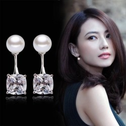 100% 925 sterling silver fashion shiny crystal pearl ladies stud earrings jewelry Anti allergy female drop shipping
