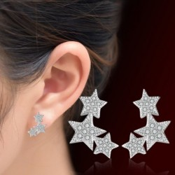 100% 925 sterling silver little star shiny crystal ladies`stud