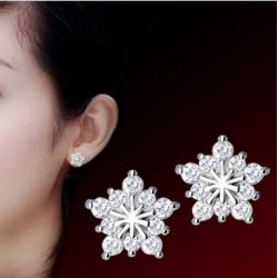 New arrival high quality shiny CZ zircon 925 sterling silver ladies`stud earrings jewelry Valentine's Day gift wholesale