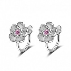 100% 925 Sterling Silver Fashion Cherry Flower Crystal Ladies Clip Earrings Original Jewelry For Women
