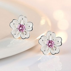 Sweet Cute Cherry Flower Cubic Zirconia 925 Sterling Silver Lady Stud Earrings Wholesale Jewelry For Women