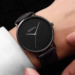 Stylish men's leather casual quartz watch business watch analog