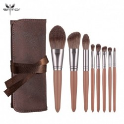 Anmor 8Pcs Makeup Brushes Set Foundation Eyebrow Eyeshadow Concealer Blush Wooden Brush For Make Up Portable Cosmetic Bag Tool