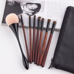 Anmor 7PCS Horse Hair  Makeup Brushes With 1PCS Powder Brush Professional Concealer Eyeshadow Brush With Pretty Black Brush bag