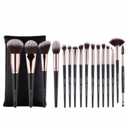 Anmor 16Pcs Makeup Brushes Set With Bag Professional Eyeshadow Foundation Blush Powder Eyeliner Eyelash Lip Make Up Brush