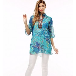 Korean Style Ethnic Loose Chiffon Blouse T-shirt