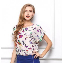 Colourfull bird blouse - T shirt