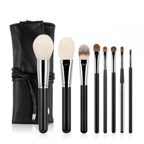 2019 ANMOR 8Pcs Makeup Brushes Set Goat Hair Foundation Powder Eyebrow Eyeliner Make Up Brush With Bag Top Quality Recommend