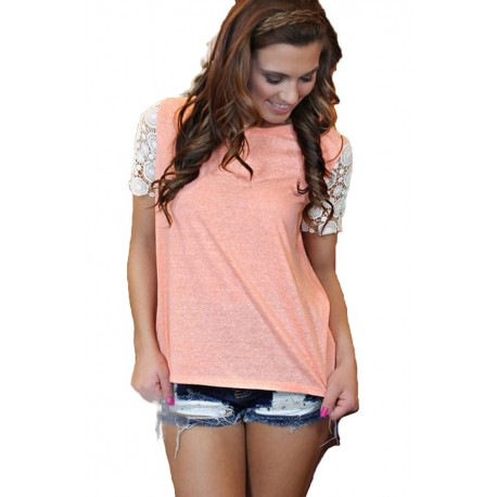 Lace Summer Casual Short Sleeve Clubwear Tops T shirt