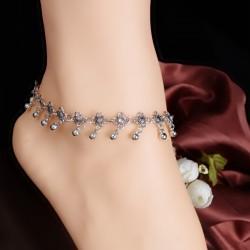 Women Flower Beads Tassel Tibetan Beach Anklet Bracelet