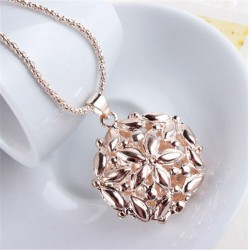 Hollow Out 3D Opal Crystal Flower Long Pendant Necklace