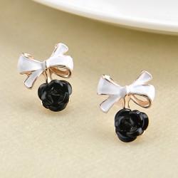 Charming Rose Flower Ear Studs Bowknot Earring