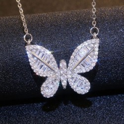 Modyle Sweet Silver Color Zircon Crystal Butterfly Necklaces For Women Luxury choker collares Wedding Jewelry