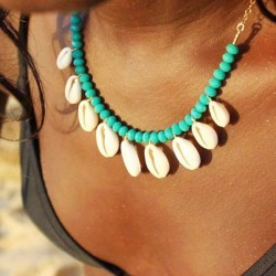 Modyle Fashion Blue Rope Chain Natural Seashell Choker Necklace Collar Necklace Shell Choker Necklaces for Summer Beach Gifts