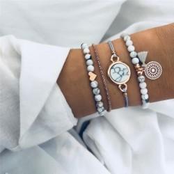 Modyle 2019 Bohemian Marble Stone Beads Bracelet Set For Women Natural Stone Tassel Pendant Bangles Bracelet Femme Jewelry