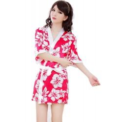 Women's Sexy Lingerie Satin Sakura Kimono nightdress