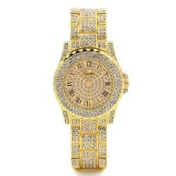 Gold Rhinestone Luxury Steel Wrist watches for women
