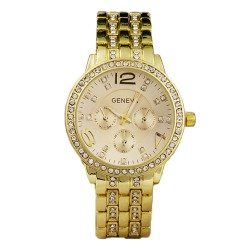 Geneva Watch Wrap Quartz Crystal Gold colour Watch