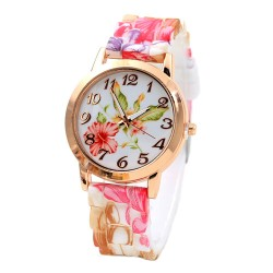 Floral Women Watches Color Flower Silicone Belt Wristwatch