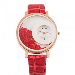 Women Crystal Sand Leather Bracelet Quartz Watch