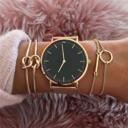Modyle 3 Pcs/set Women's Fashion Punk Bracelet Simple Double Knot Loop Metal Chain Bracelet Bohemian Retro Jewelry Accessories