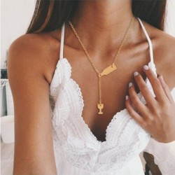 Modyle Trendy Women Jewelry Cute Wine glass Wine bottle Necklace Gold Choker Necklace Pendant On Neck Accessories