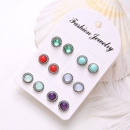 Modyle 6sets/lot Fashion Bohemia Vintage Silver Opal Stud Earrings Set for Woman