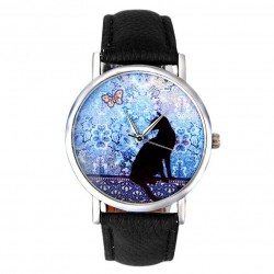Cat Pattern Leather Band Analog Quartz Vogue watch