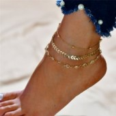 Modyle 2019 New Crystal Sequins Anklet Set For Women Beach Foot jewelry Vintage Statement Anklets Boho Style Summer Jewelry