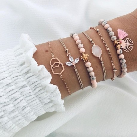 Modyle 6PCs Blue Natural Stone Beads Tassel Bracelets for Women Gold Compass Ocean Shell Bracelets Set Bohemia Wrist Jewelry