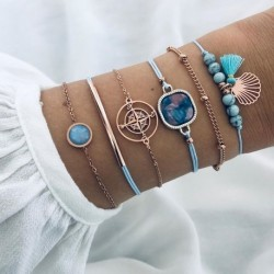 Modyle 6PCs Blue Natural Stone Beads Tassel Bracelets for Women Gold Compass Ocean Shell Bracelets Set Bohemia Wrist Jewelry