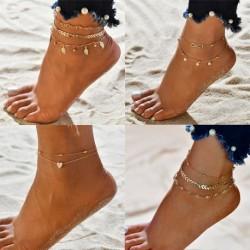 Modyle 3pcs/set Simple Heart Female Anklets Barefoot Crochet