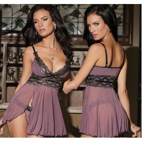 Women Sexy Lingerie : Mesh Babydoll Nightwear Dress