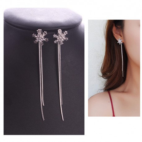 Korean fashion Long Pendant Snowflake tassel Earrings