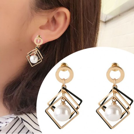 Korean fashion square big beads wild earrings