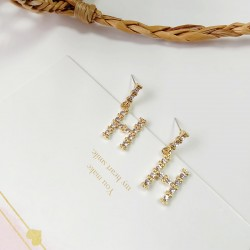 Korean fashion Letter H Stud Earrings