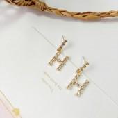 Korean fashion Letter H Stud Earrings
