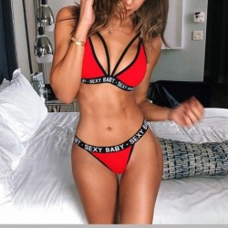 New Sexy Letter Three-Point Suit Women's Sports Underwear Set Sexy Skinny Backless Underwear Bikini