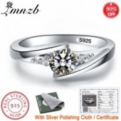 Free Sent Certificate 100% 925 Sterling Silver 0.75ct Lab Diamond Rings For Women Party Elegant Wedding Rings Fine jewelry L5036
