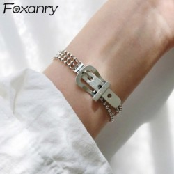 Foxanry 925 Sterling Silver Belt Buckle Bracelet New Fashion Vintage Punk Bead Chain Bangles Elegant Creative Party Jewelry Gift