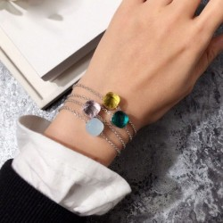 SLJELY Famous Brand Elegant Multicolor Candy Faceted Crystal and Stones Square Charm Bracelet Fashion Women Girls Party Jewelry