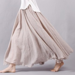 2020 Women Linen Cotton Long Skirts Elastic Waist Pleated Maxi Skirts Beach Boho Vintage Summer Skirts Faldas Saia