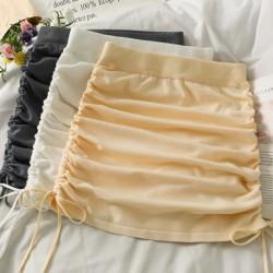 Women Pleated Skirt A-Line Mini Skirts Sexy Drawstring Skirts 2021 Autumn Night Club Bodycon Skirt Women