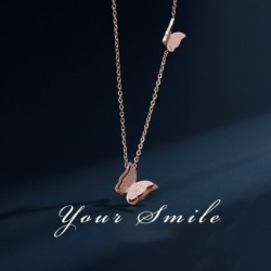 Titanium steel necklace with rose gold butterfly pendant necklace for female simple wild clavicle chain for student women female