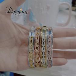 Duoying DIY Slider Charms Bangles Custom Name Bracelets Bangle Zirconia Letters Birth Zodiac Personalized Bangles Name Bangles