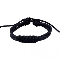 Black Color Leather Handmade Bracelet For Men And Women