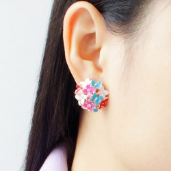 Leaf Flower Piercing Ear Studs Earrings